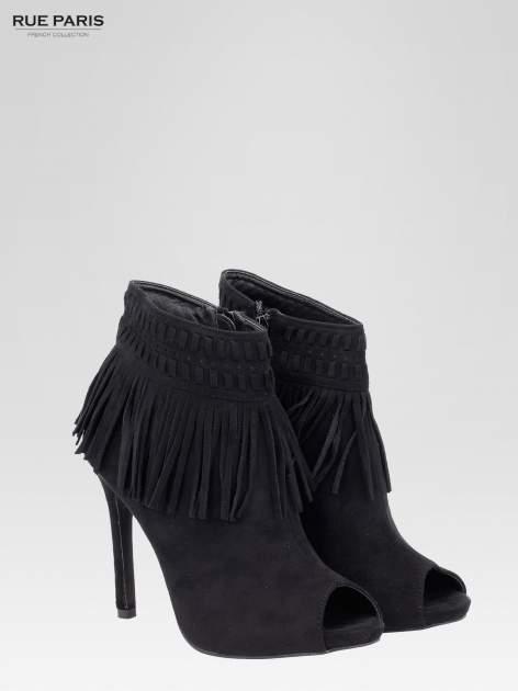 Czarne botki faux suede Suzie open toe z frędzlami w stylu boho                                  zdj.                                  3
