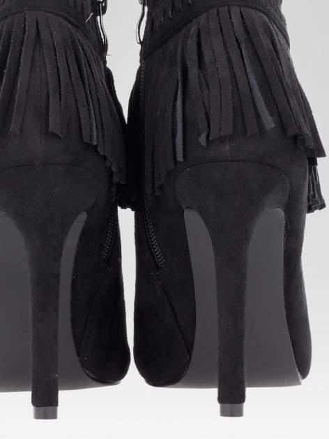 Czarne botki faux suede Suzie open toe z frędzlami w stylu boho                                  zdj.                                  9