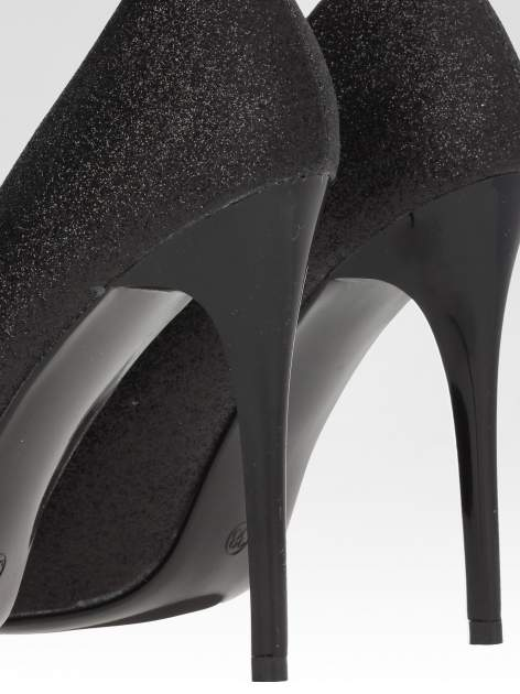 Czarne brokatowe szpilki w szpic Black Glitter                                  zdj.                                  6