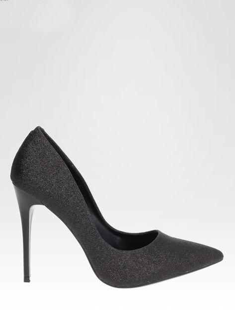 Czarne brokatowe szpilki w szpic Black Glitter                                  zdj.                                  1