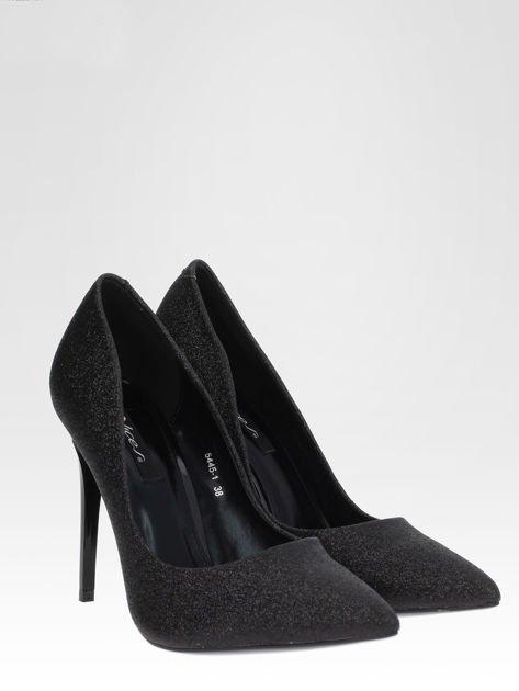 Czarne brokatowe szpilki w szpic Black Glitter                                  zdj.                                  2