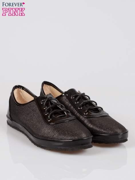 Czarne buty sportowe faux leather Adorable z efektem glitter                                  zdj.                                  2