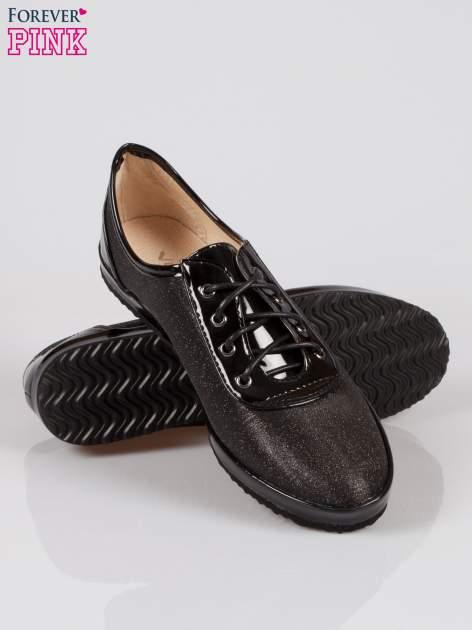 Czarne buty sportowe faux leather Adorable z efektem glitter                                  zdj.                                  4