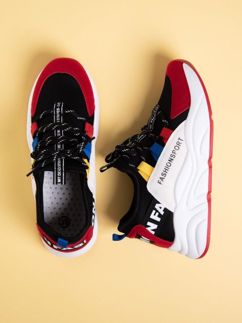 Czarne buty sportowe na wysokiej podeszwie z kolorowymi szlufkami                              zdj.                              1