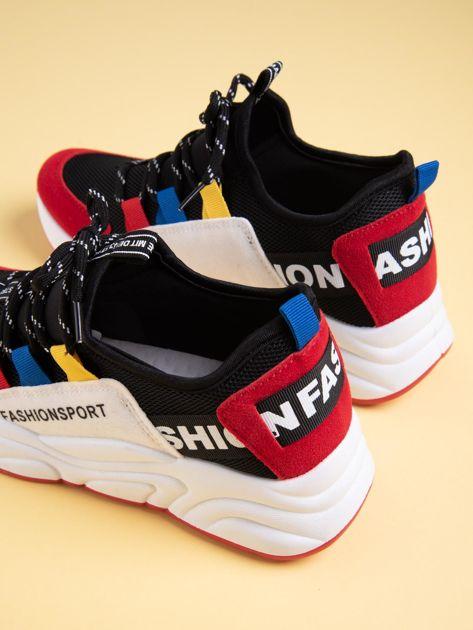Czarne buty sportowe na wysokiej podeszwie z kolorowymi szlufkami                              zdj.                              3