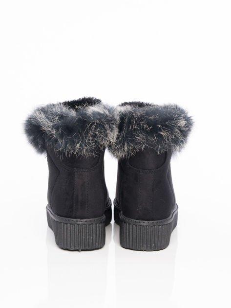 Czarne buty sportowe z grubym futrzanym kołnierzem na podwyższonej podeszwie                              zdj.                              3