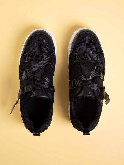 Czarne buty sportowe z wiązaniem i zapięciem na klips                              zdj.                              2