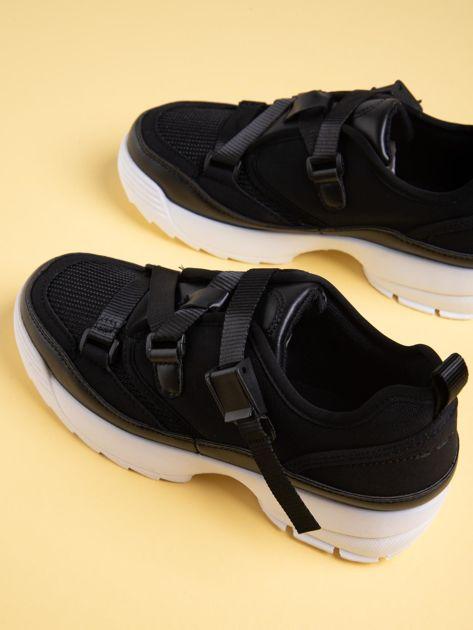 Czarne buty sportowe z wiązaniem i zapięciem na klips                              zdj.                              5