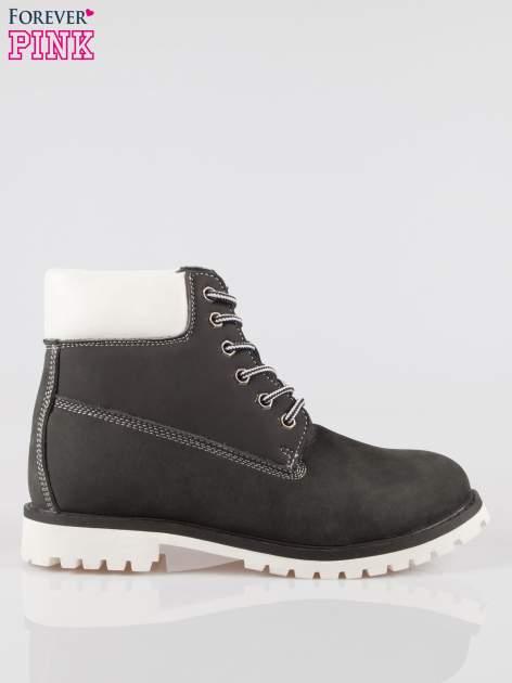 Czarne buty trekkingowe traperki damskie ze skóry naturalnej