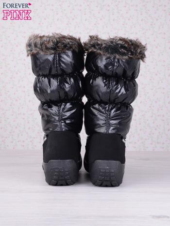 Czarne ciepłe pikowane śniegowce na misiu z membraną                                  zdj.                                  3