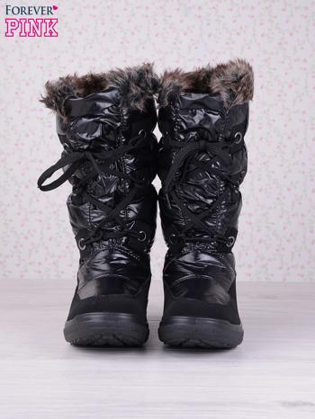 Czarne ciepłe pikowane śniegowce na misiu z membraną                                  zdj.                                  4