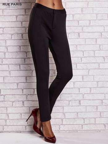 Czarne dopasowane spodnie z siateczkowym pasem                                  zdj.                                  1