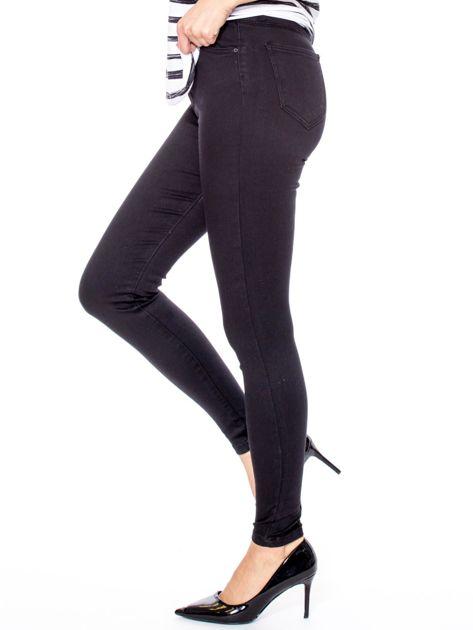 Czarne dopasowane spodnie z wysokim stanem                              zdj.                              5