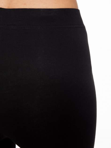 Czarne elastyczne legginsy damskie z bawełny                                  zdj.                                  5