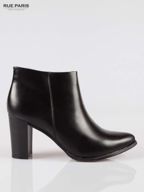 Czarne eleganckie botki na słupkowym obcasie                                  zdj.                                  1