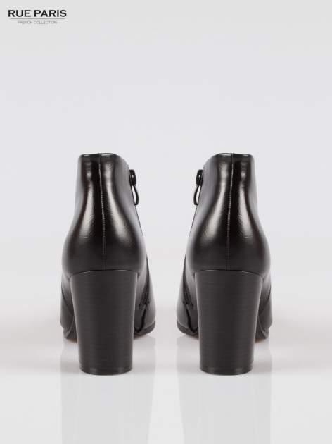 Czarne eleganckie botki na słupkowym obcasie                                  zdj.                                  3