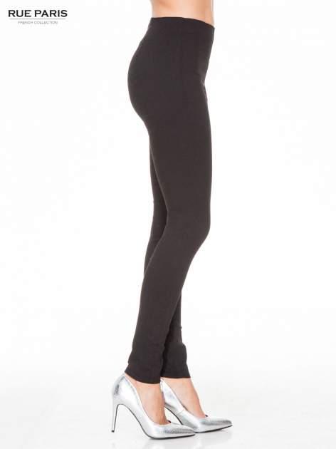 Czarne eleganckie spodnie typu tregginsy z wysoką talią                                  zdj.                                  3