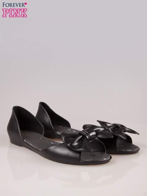 Czarne gumowe baleriny peep toe z kokardą                                  zdj.                                  2