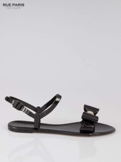 Czarne gumowe sandały meliski z kokardą                                  zdj.                                  1