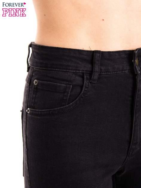 Czarne jeansy rurki z wysokim stanem                                  zdj.                                  7