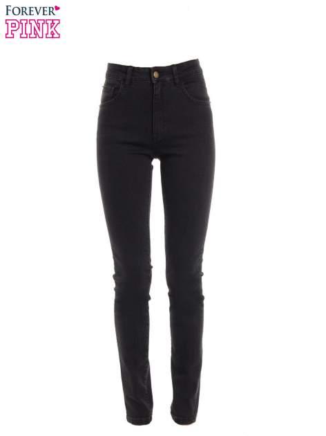 Czarne jeansy rurki z wysokim stanem