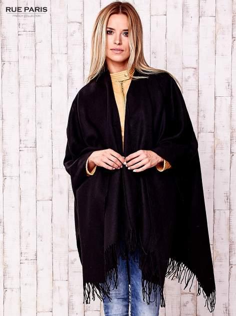 Czarne klasyczne poncho damskie z frędzlami