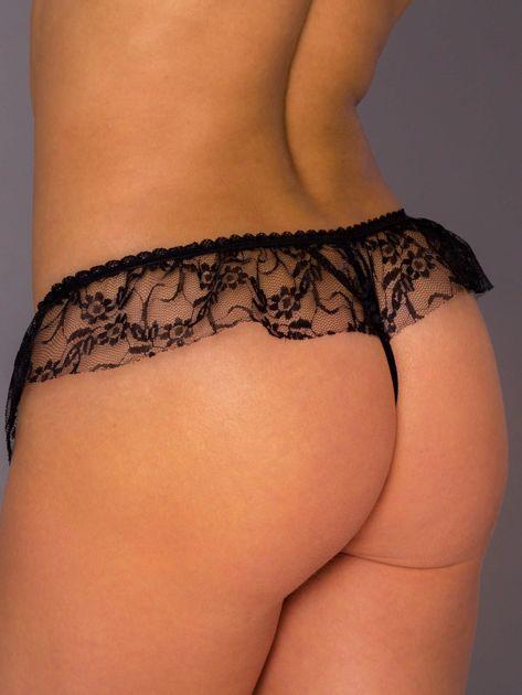 Czarne koronkowe majtki stringi erotyczne z falbaną                              zdj.                              2