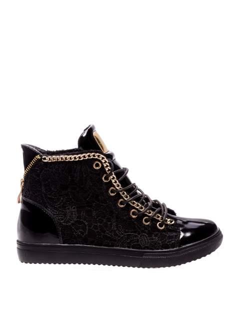 Czarne koronkowe sneakersy z łańcuszkiem                                  zdj.                                  1
