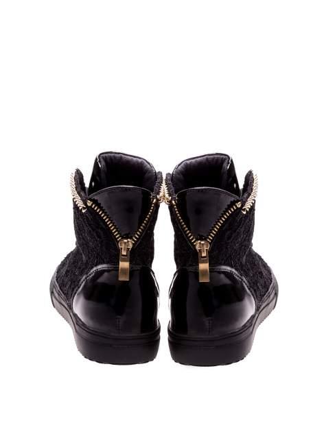 Czarne koronkowe sneakersy z łańcuszkiem                                  zdj.                                  3