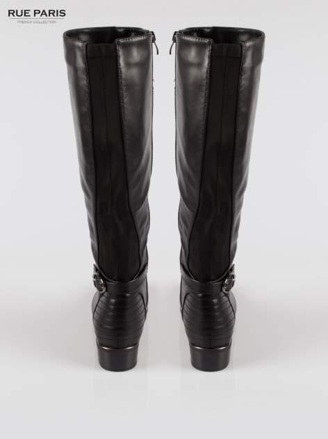 Czarne kozaki z klamerką w stylu biker boots                                  zdj.                                  3