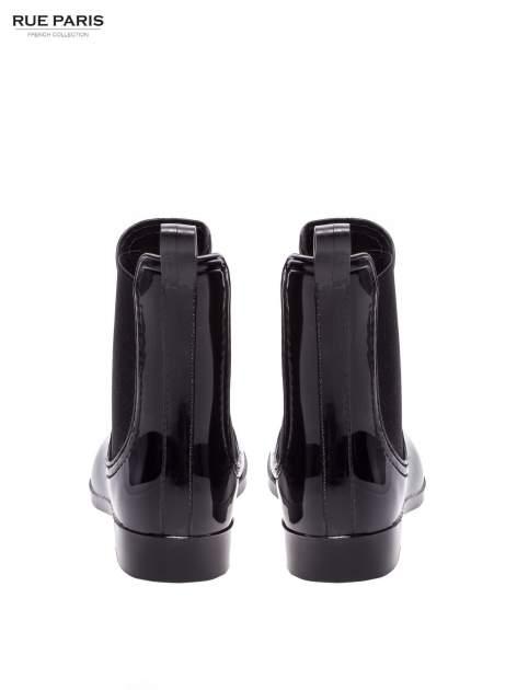 Czarne krótkie lakierowane kalosze w stylu sztybletów                                  zdj.                                  3