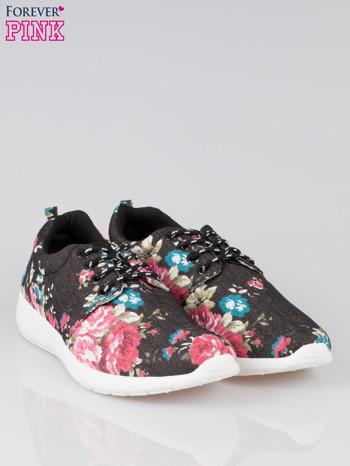 Czarne kwiatowe buty sportowe Bring It On na podeszwie flex                                  zdj.                                  2