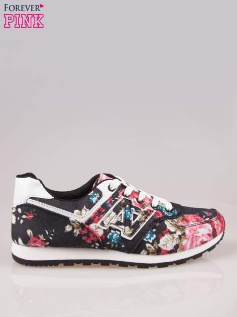 Czarne kwiatowe buty sportowe w stylu casual                                  zdj.                                  1