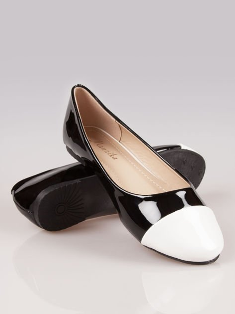 Czarne lakierowane baleriny Two-color z białym noskiem                                  zdj.                                  4