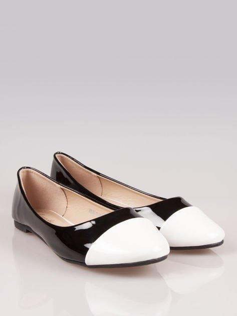 Czarne lakierowane baleriny Two-color z białym noskiem                                  zdj.                                  3