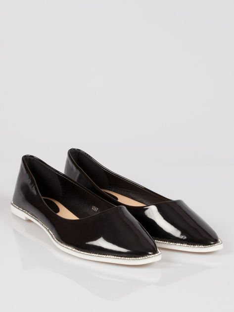 Czarne lakierowane baleriny faux polish leather z metalicznym otokiem                              zdj.                              2