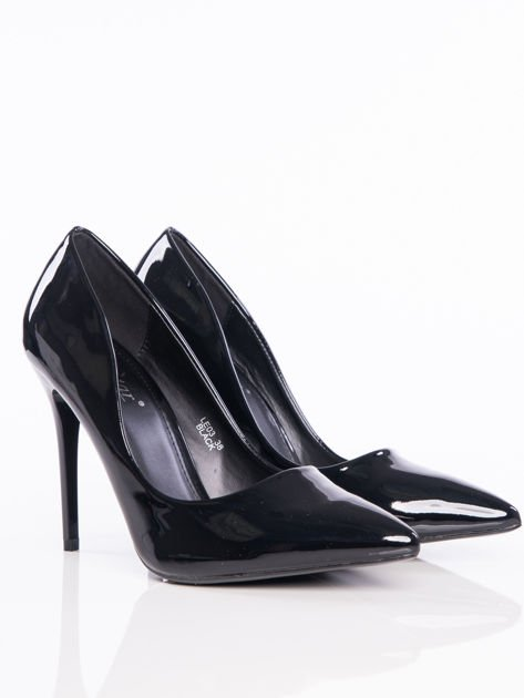 Czarne lakierowane buty na cienkim słupku w szpic                              zdj.                              2