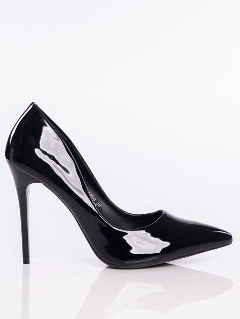 Czarne lakierowane buty na cienkim słupku w szpic                              zdj.                              1