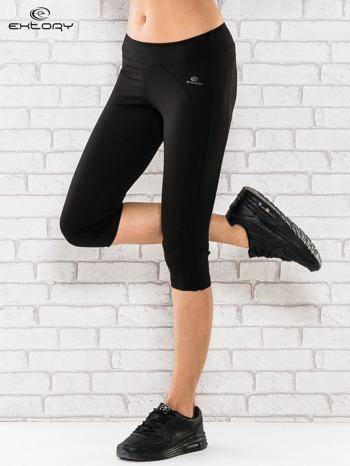 Czarne legginsy 3/4 sportowe termalne z lampasami