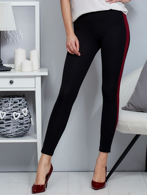 Czarne legginsy z bordowym lampasem                              zdj.                              5