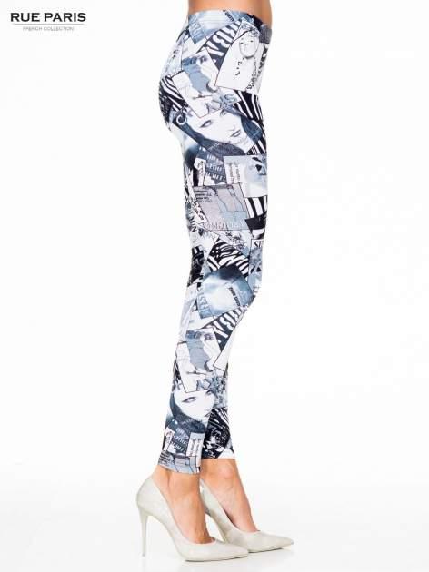 Czarne legginsy z nadrukiem magazines print                                  zdj.                                  3