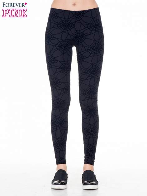 Czarne legginsy z nadrukiem pajęczej sieci