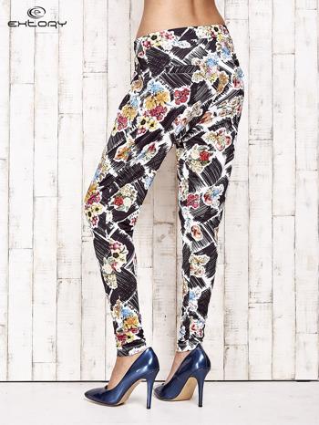 Czarne lejące spodnie z kwiatowym nadrukiem                                  zdj.                                  4
