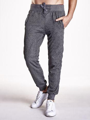 Czarne melanżowe spodnie męskie z trokami i kieszeniami                                  zdj.                                  1
