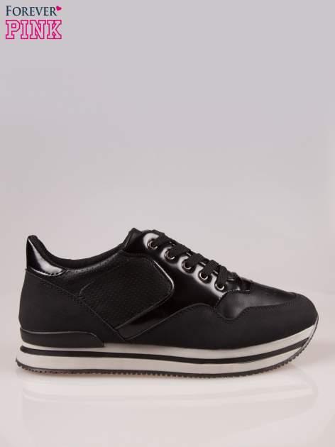 Czarne miejskie buty sportowe na warstwowej podeszwie