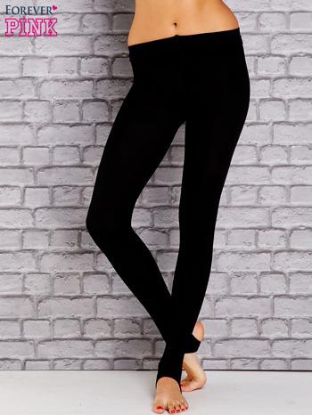 Czarne ocieplane legginsy zakładane na stopę                                  zdj.                                  1