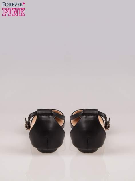 Czarne odkryte baleriny wiązane w kostce                                  zdj.                                  3