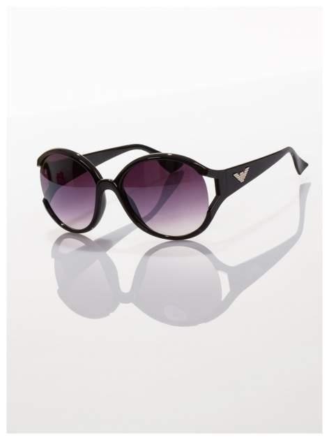 Czarne owalne okulary przeciwsłoneczne                                   zdj.                                  1