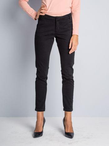 Czarne proste spodnie typu cygaretki 7/8                                  zdj.                                  4