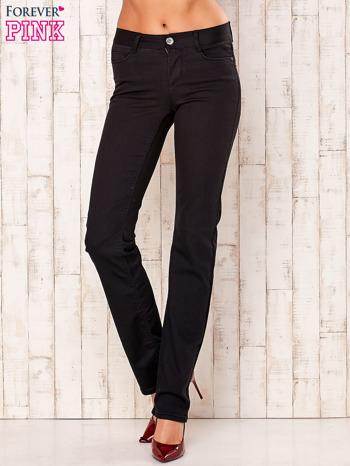Czarne proste spodnie z napami                                  zdj.                                  1